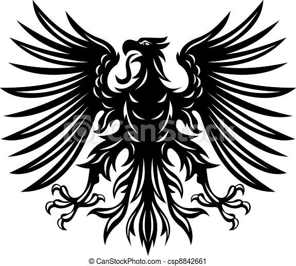 Black heraldic eagle - csp8842661