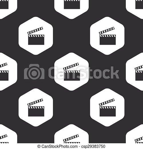 Black hexagon clapperboard pattern - csp29383750