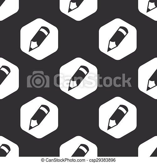 Black hexagon pencil pattern - csp29383896