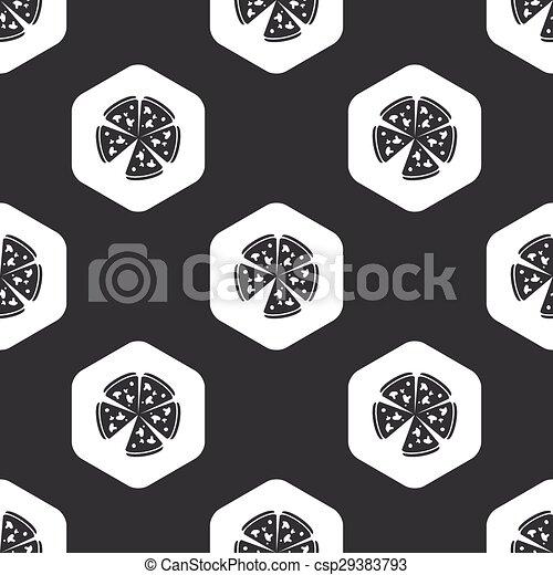 Black hexagon pizza pattern - csp29383793