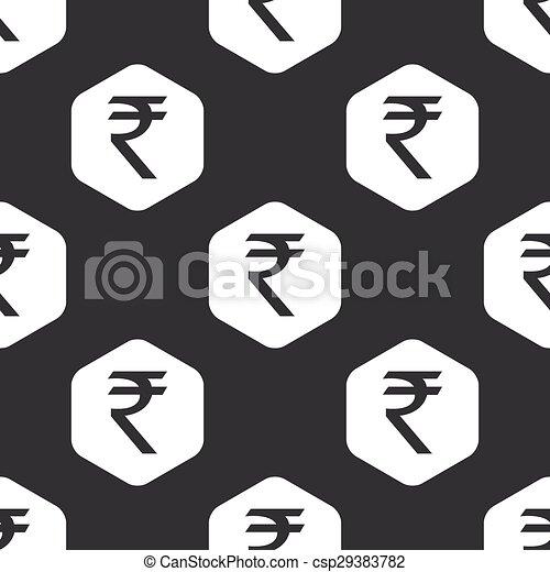 Black Hexagon Rupee Pattern Image Of Indian Rupee Symbol In Hexagon