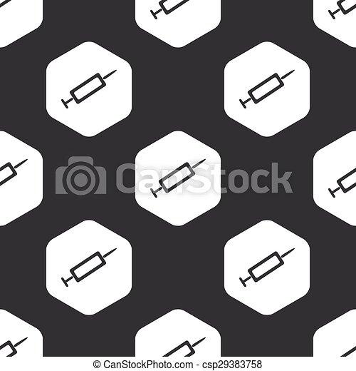 Black hexagon syringe pattern - csp29383758