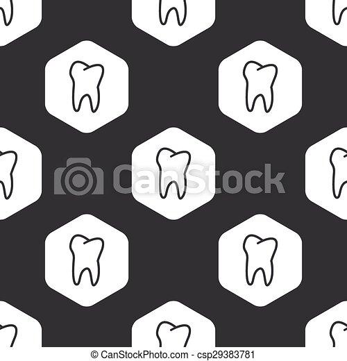 Black hexagon tooth pattern - csp29383781
