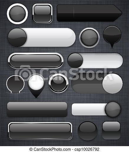 Black high-detailed modern buttons. - csp10026792
