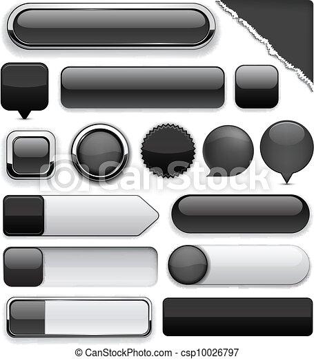 Black high-detailed modern buttons. - csp10026797