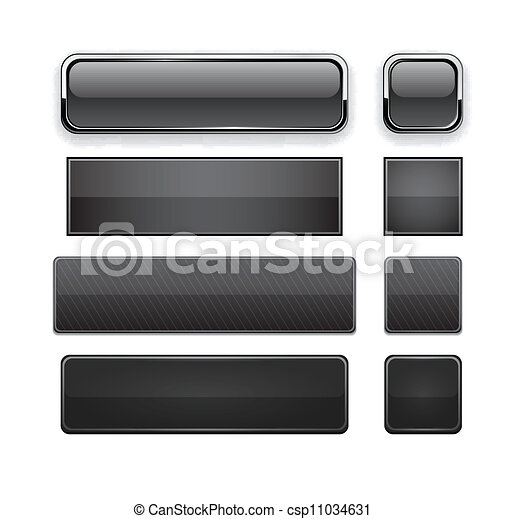 Black high-detailed modern web buttons. - csp11034631
