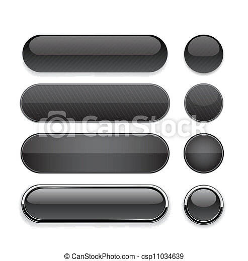 Black high-detailed modern web buttons. - csp11034639