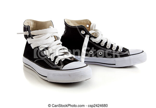 Black high top sneakers on white - csp2424680