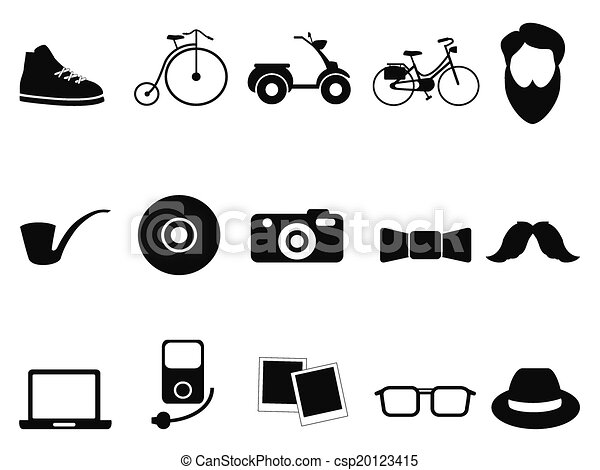 black hipster icons set - csp20123415