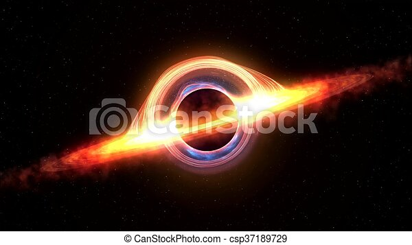 Black hole attracting space matter. 4k video 3d rendering - csp37189729