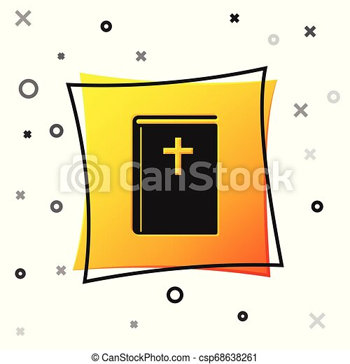 Black Holy bible book icon isolated on white background. Yellow square button. Vector Illustration - csp68638261