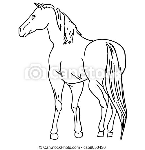 Vector Version Black Horse Silhouette Isolated On White For Design