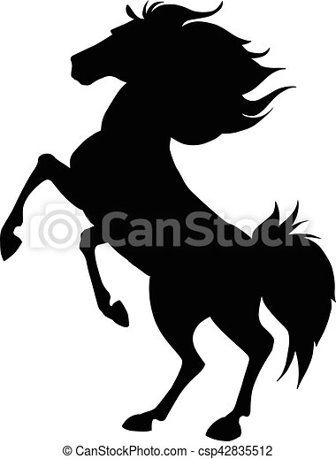 Black horse prancing silhouette. Vector illustration - csp42835512