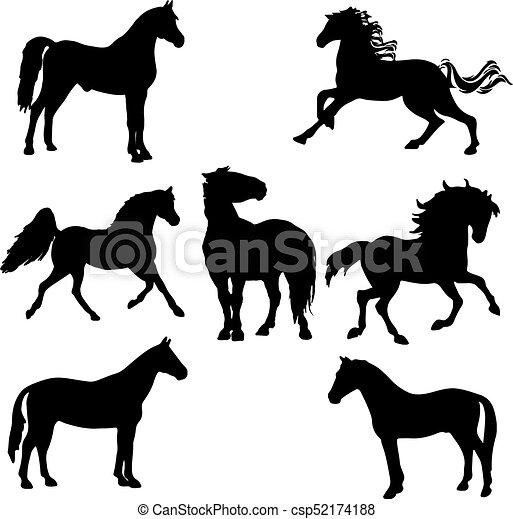 black horse silhouette clipart. vector illustration - csp52174188
