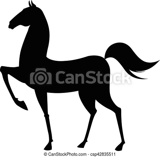Black horse silhouette. Vector illustration - csp42835511