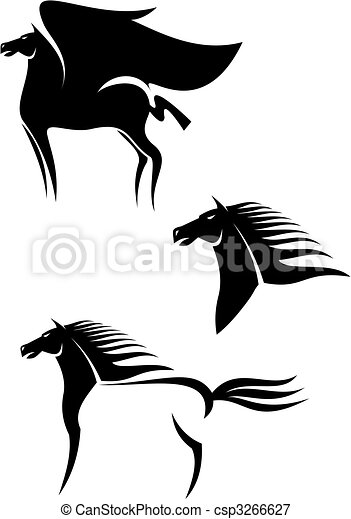 Black horses emblems - csp3266627