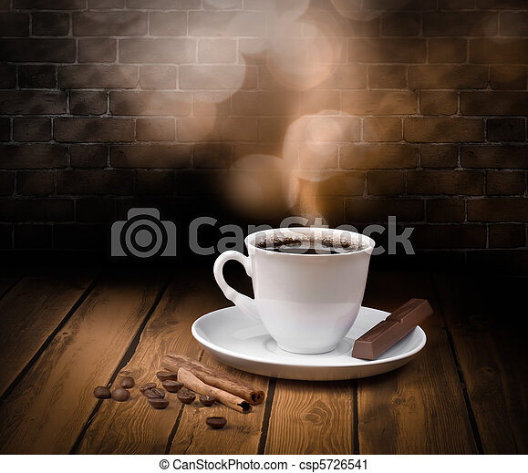 Black hot coffee cup with chocolate and cinnamon - csp5726541