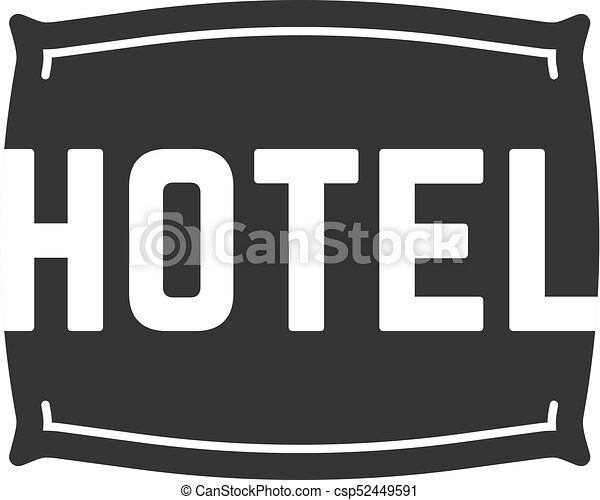 black hotel logo with pillow - csp52449591