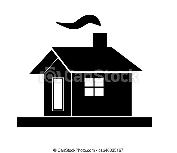 black house silhouette vector with chimney and smoke from fireplace rh canstockphoto com haunted house silhouette vector haunted house silhouette vector