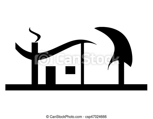 black house silhouette vector with tree garden isolated on clip rh canstockphoto com house silhouette vector png opera house silhouette vector
