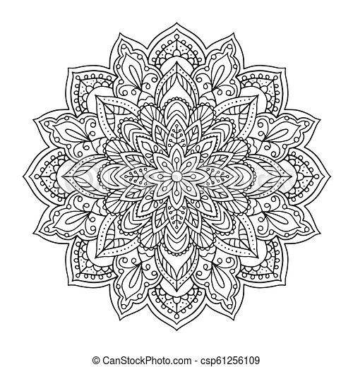 Black indian mandala on white background. Decorative flower drawing for  meditation coloring book. Ethnic floral design element, round hand drawn ...