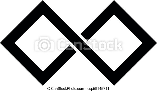 7f5c7e7d07fd8 Black infinity symbol icon. rectangular shape with sharp edges. simple flat  vector design element.