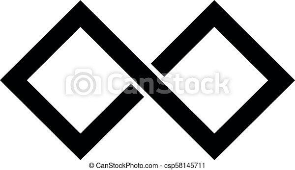 7f5c7e7d07fd8 Black infinity symbol icon. rectangular shape with sharp edges. simple flat  vector design element.