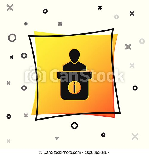 Black Information desk icon isolated on white background. Man silhouette standing at information desk. Help person symbol. Information counter icon. Yellow square button. Vector Illustration - csp68638267