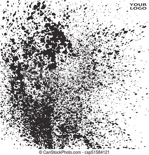 Black ink paint splatter on white background texture artistic