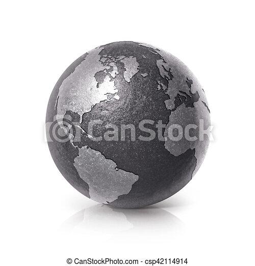 Black iron globe 3D illustration North and South America map - csp42114914