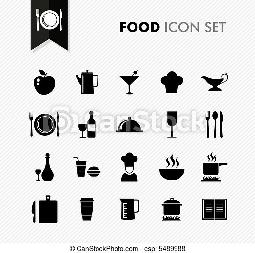 Black isolated Food menu icon set. - csp15489988