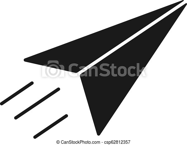 Black Isolated Icon Of Paper Airplane On White Background