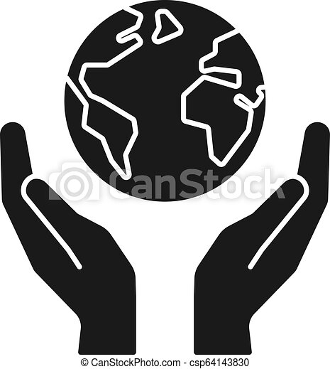 Black isolated icon of planet, earth in hands on white background. Silhouette of globe and hands. Symbol of care, protection. Save planet. - csp64143830