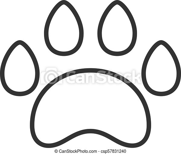 Black Isolated Outline Icon Of Animal Paw Track On White Background