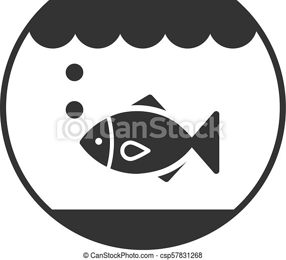 Black Isolated Outline Icon Of Aquarium With Fish On White