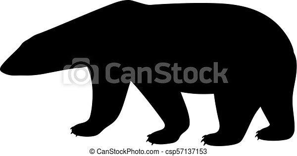 Black isolated silhouette of polar bear on white background. Side view. - csp57137153