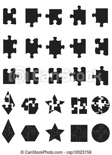 Black Jigsaw Puzzle Pieces Icon