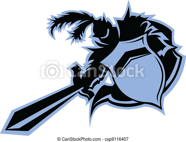 Black Knight Warrior Mascot with Sword and Shield Vector Graphic - csp9116407