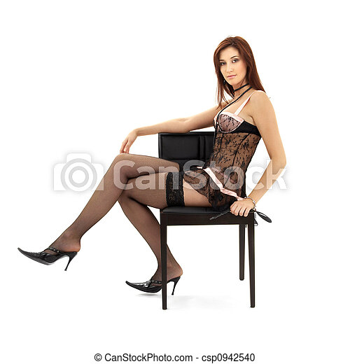 black lace brunette in chair with mask - csp0942540