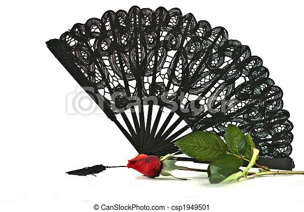Black lace Fan rose - csp1949501