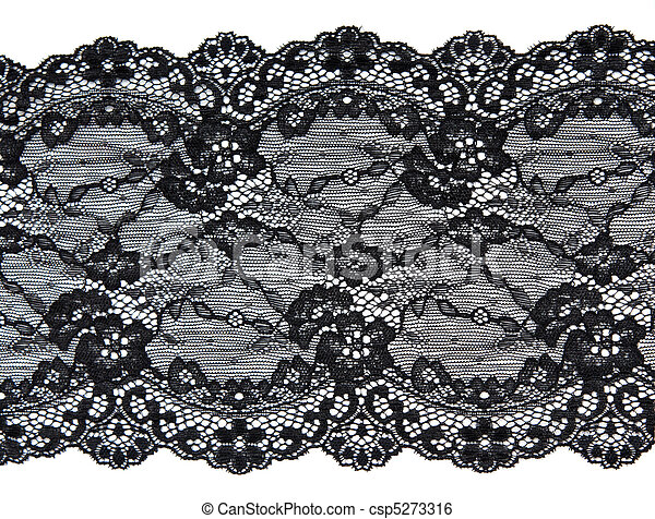 Black lace with pattern in the manner of flower - csp5273316