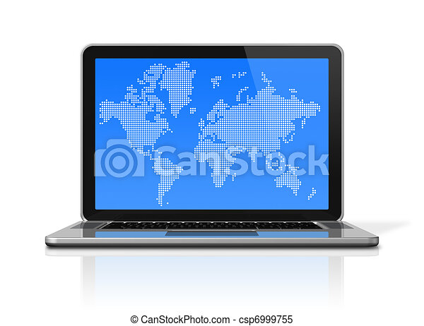 black Laptop computer isolated on white with worldmap on screen - csp6999755