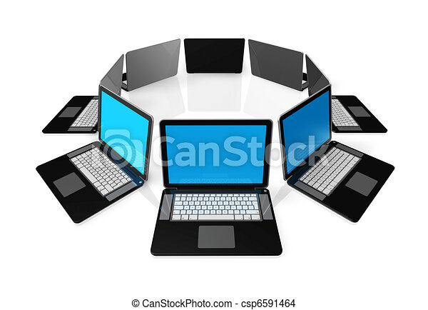 Black laptop computers isolated on white - csp6591464