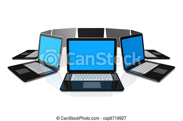 Black laptop computers isolated on white - csp6719927