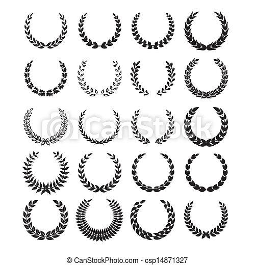 Black laurel wreaths 1 - csp14871327