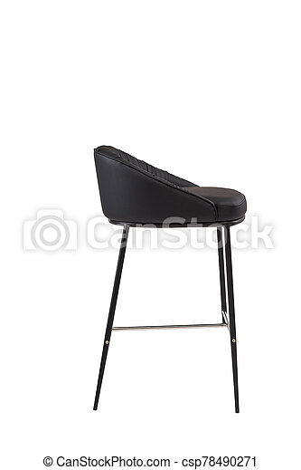 black leather bar stool isolated on white background. modern black bar chair side view. soft comfortable upholstered tall chair. interrior furniture element. - csp78490271