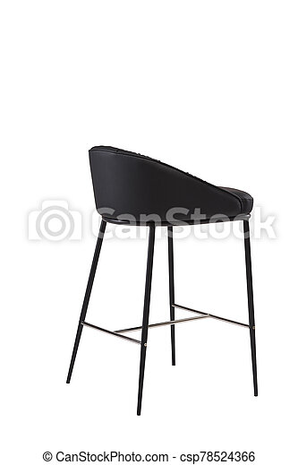black leather bar stool isolated on white background. modern black bar chair back view. soft comfortable upholstered tall chair. interrior furniture element. - csp78524366