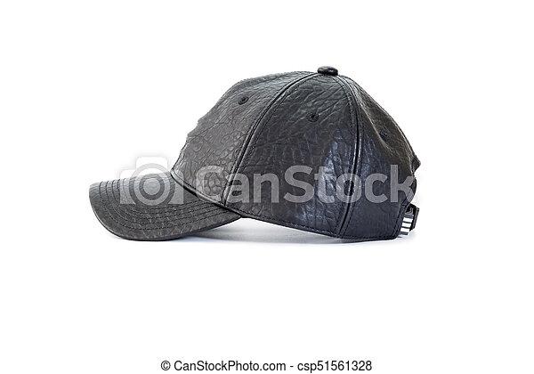 073eaac3 Black leather baseball cap. Side view of black leather baseball caps ...