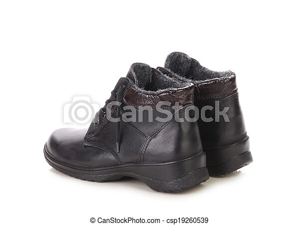 Black leather boots. - csp19260539