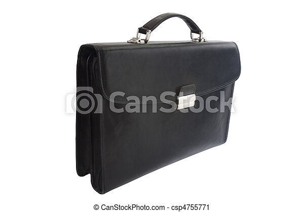 Black leather briefcase isolated on white background - csp4755771